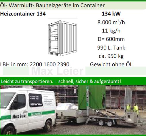 Heizcontainer Warmluft fuer baustellen und Rohbau